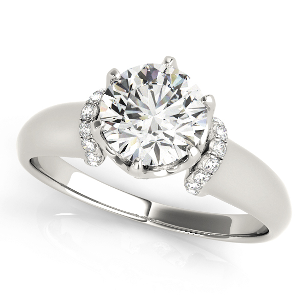 Contour Crown Engagement Ring with Diamond Shoulder