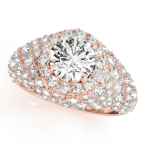 Large Halo Diamond Etoil Engagement Anniversary Ring in Rose Gold
