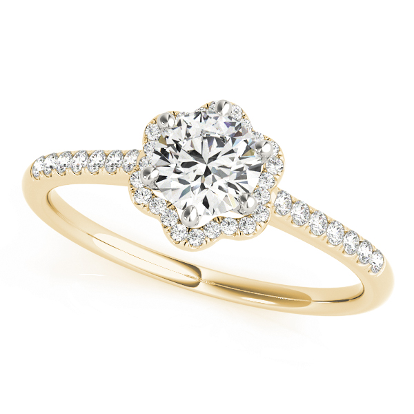 Petite Floral Diamond Cathedral Engagement Ring in Yellow Gold