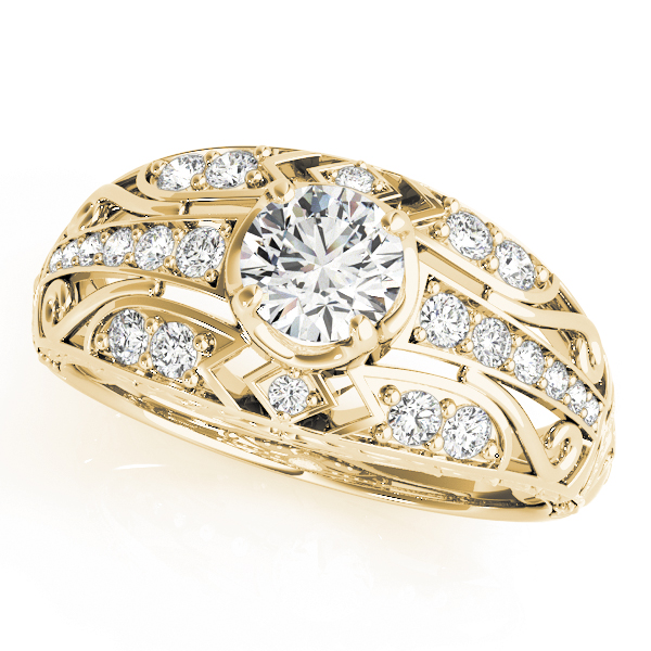 Engraved Dome Diamond Engagement Ring with Filigree Yellow Gold