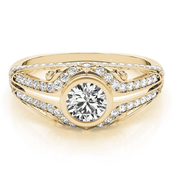 Bezel Diamond Contour Engagement Ring Yellow Gold