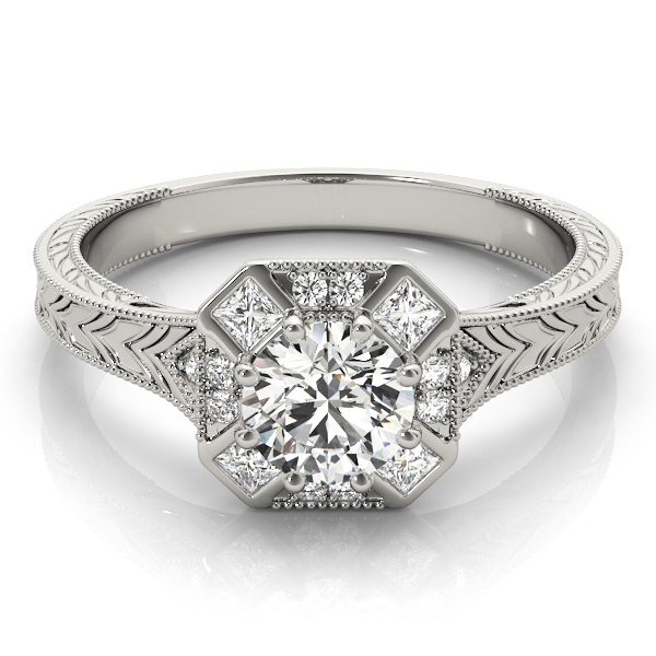 Octagon Halo Diamond Engraved Engagement Ring