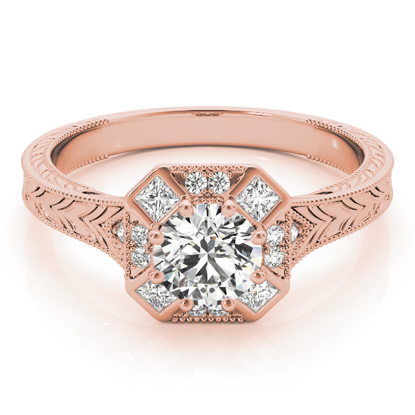 Octagon Halo Diamond Engraved Engagement Ring in Rose Gold