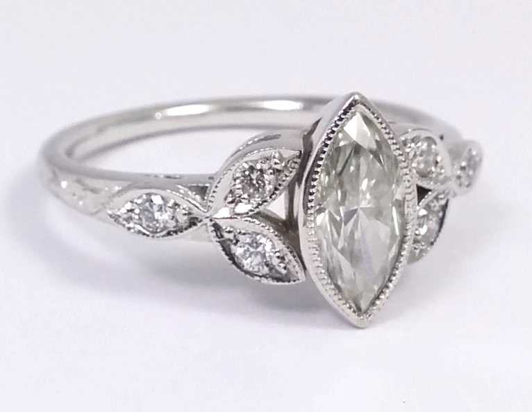 Marquise Diamond Bezel Engagement Ring, Floral Triquetra Band