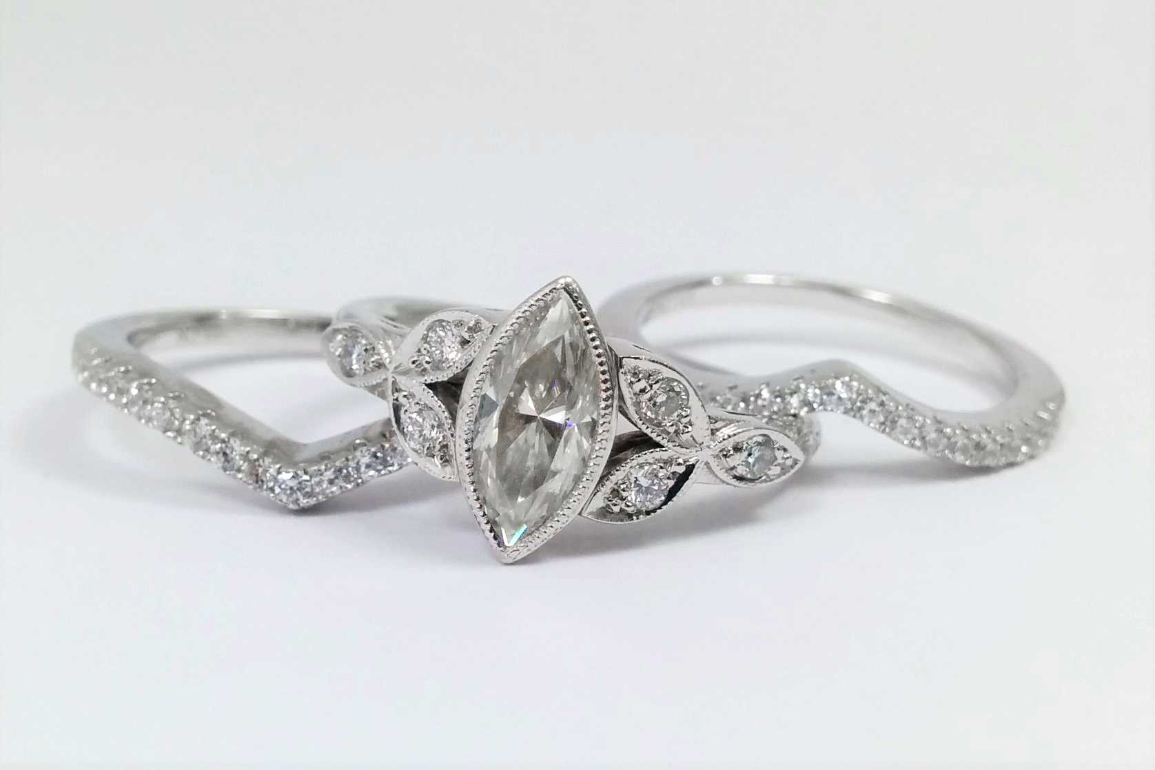 Marquise Diamond Bezel Bridal Set, Floral Triquetra  Band