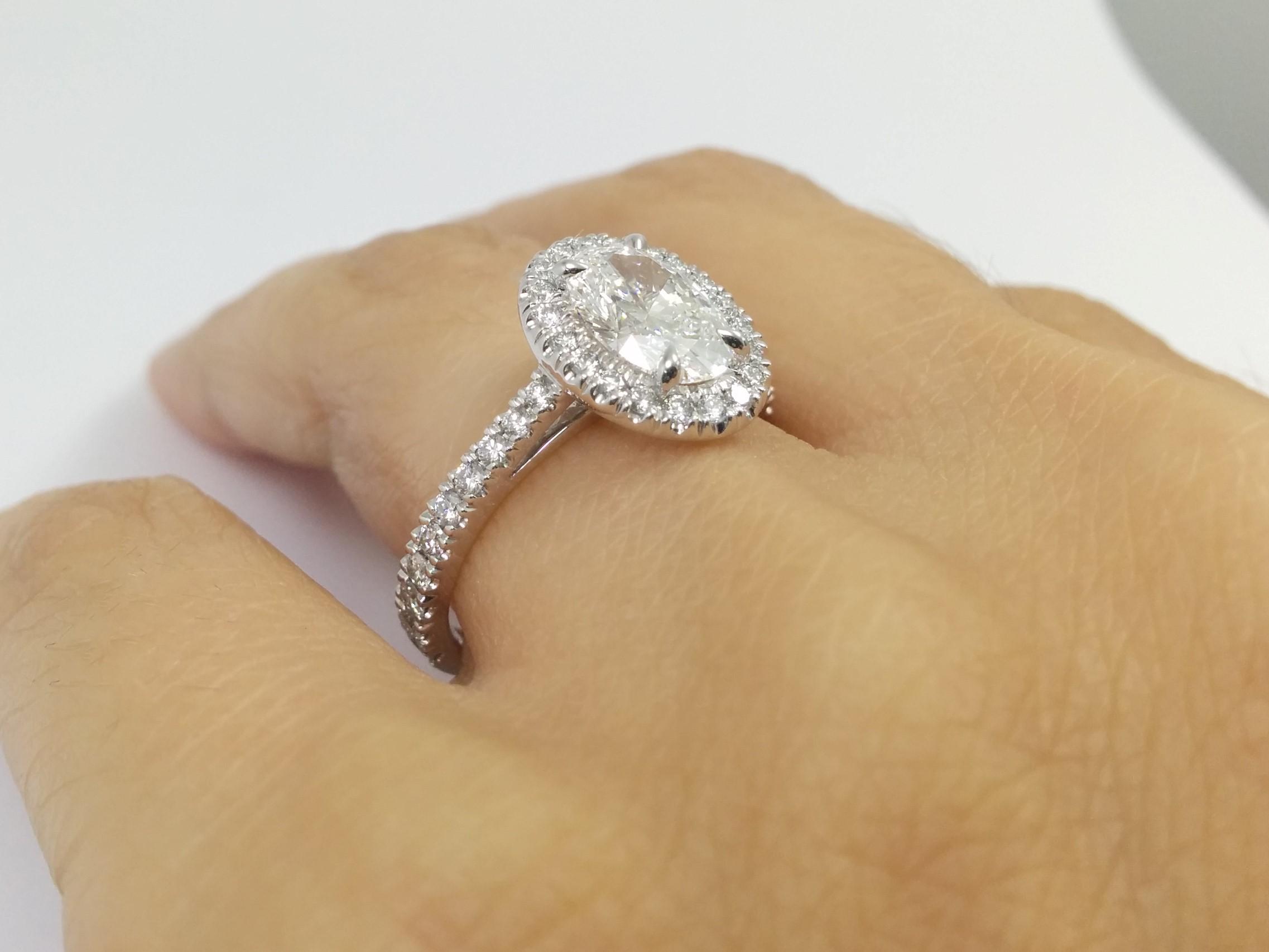 Cathedral Oval Diamond Halo Engagement Ring