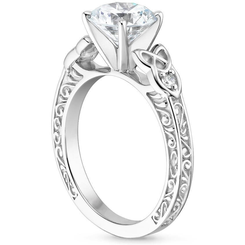 Pear Celtic Engraved Diamond Engagement Ring