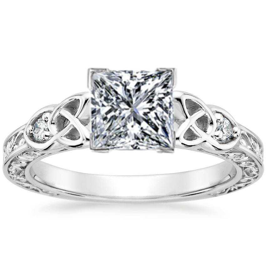 Princess Celtic Engraved Diamond Engagement Ring