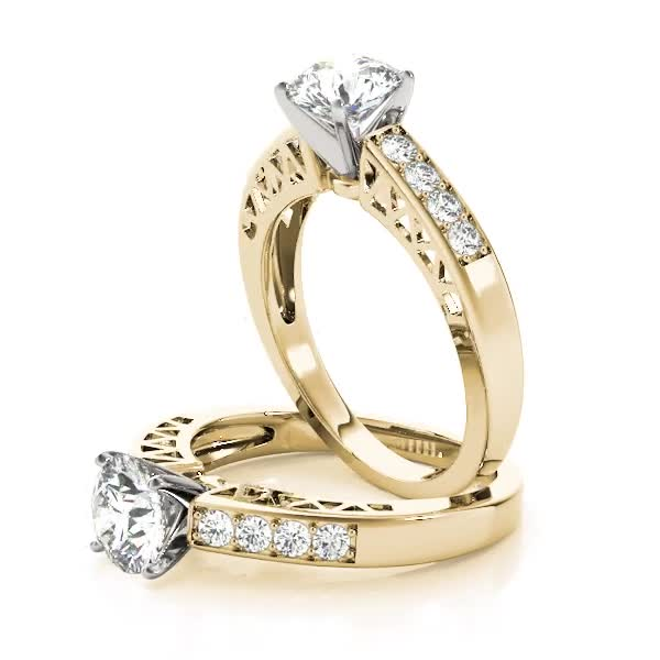 Classic Pave Diamond Engagement Ring Yellow Gold