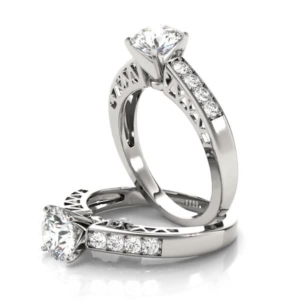 Classic Pave Diamond Engagement Ring