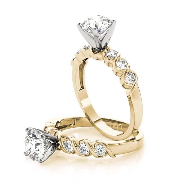 Petite Helix Diamond Engagement Ring in Yellow Gold