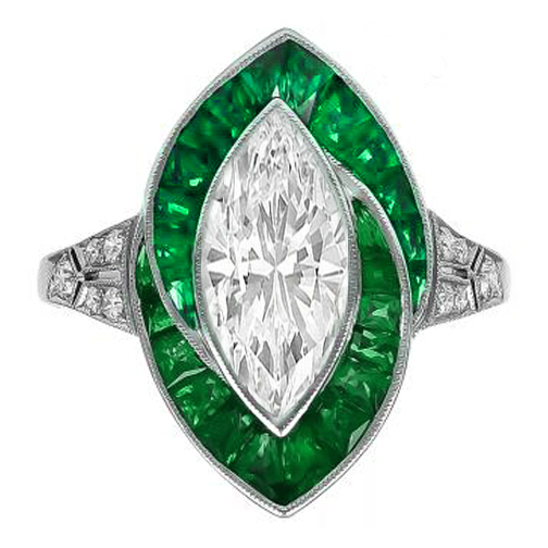 Marquise Diamond Halo Art-Deco Engagement Ring with Green Tourmaline
