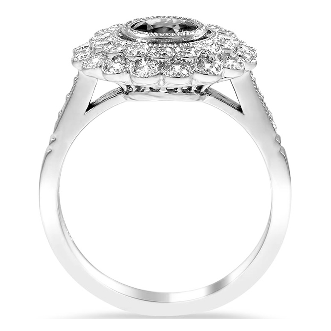 Double Floral Bezel Cathedral Engagement Ring