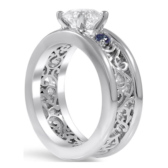 Three Stone Diamond-Sapphire Eternity Filigree Anniversary Ring