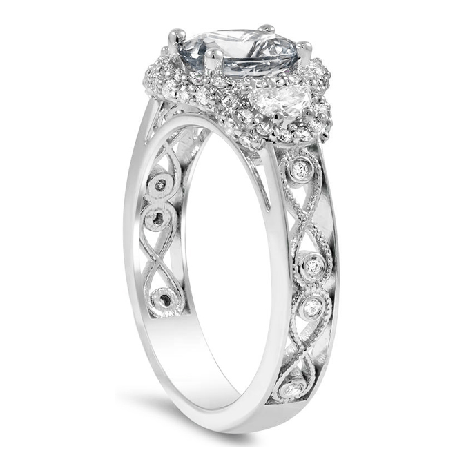 Three Stone Oval & Half-Moon Halo Engagement Ring with Infinity Filigree