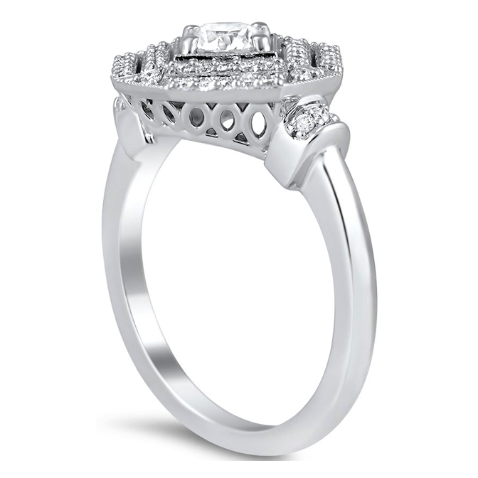 Double Halo Octagon Diamond Engagement Ring
