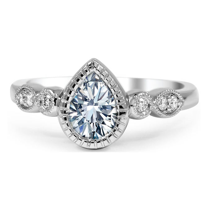 Bezel Pear Shaped Diamond Cathedral Engagement Ring