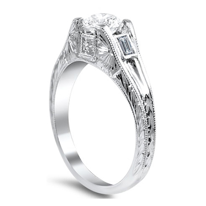 Round - Baguette Cut Diamond Engagement Ring with Engraving