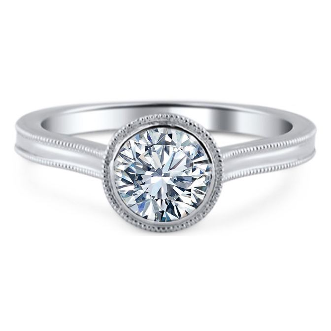 Bezel Set Cathedral Solitaire Diamond Engagement Ring with Milligrain