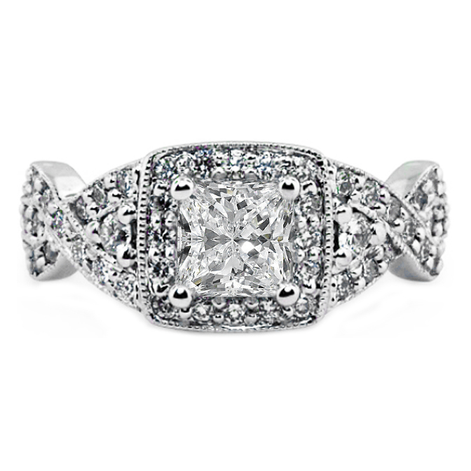 Princess Diamond Halo Engagement Ring with Intertwined Knot Band
