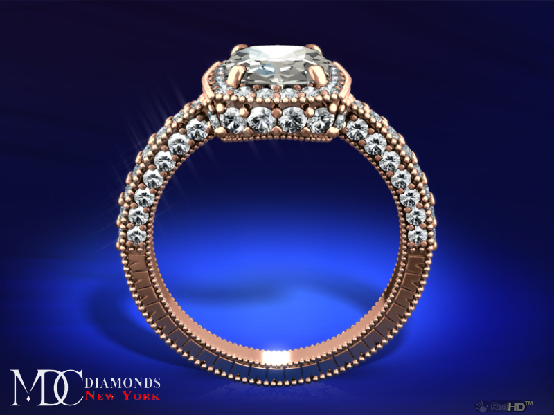 Tonnaeau Cushion Diamond Engagement Ring in 14 Karat Pink Gold, 1 tcw