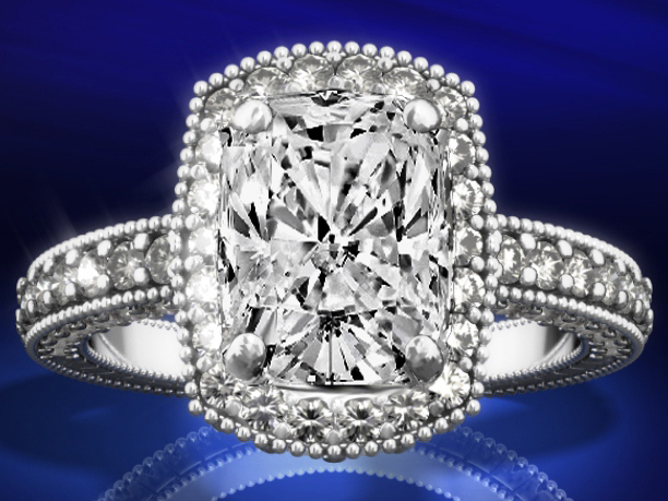 Tonnaeau Cushion Diamond Engagement Ring in 14K White Gold, 1 tcw