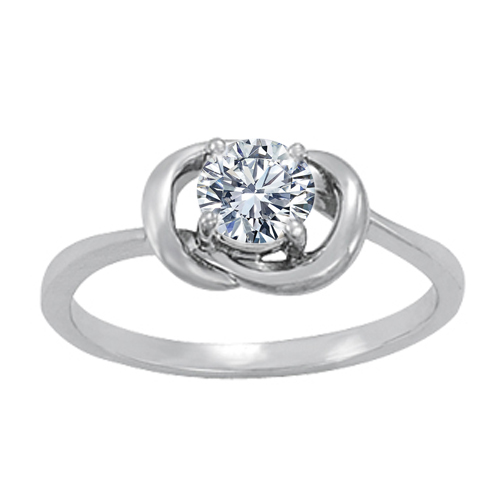 Solitaire Love Knot Engagement or Promise Ring