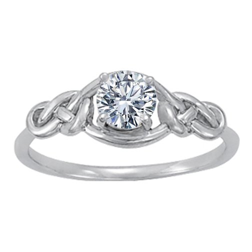 Solitaire Double Love Knot Engagement or Promise Ring