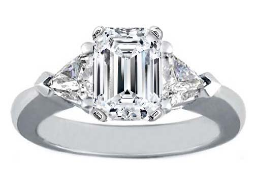 Platinum Engagement Ring Trillion Diamond Accents Like Eva Longoria-Parker 0.40 tcw.