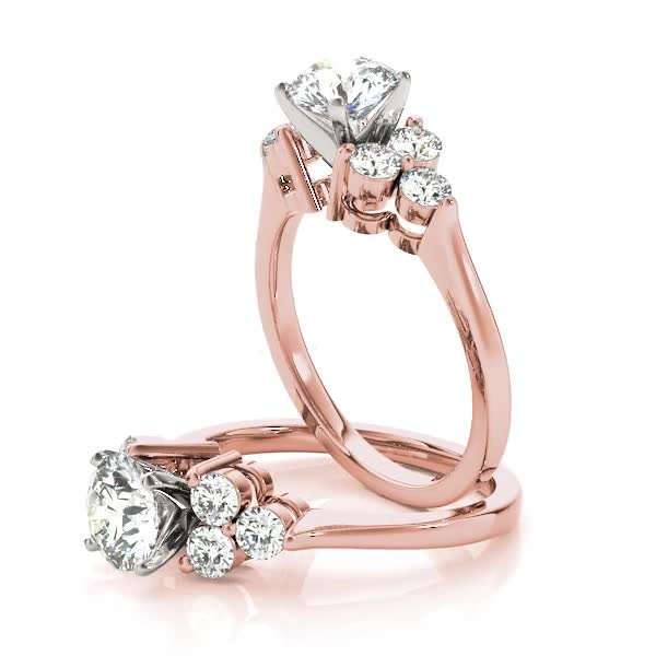 Trio Cluster Engagement Ring in Rose Gold