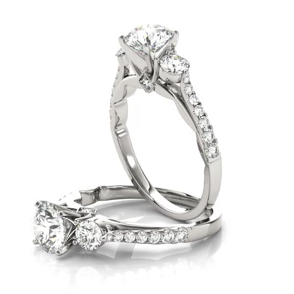 Three Stone Cathedral Engagement Ring with Crescent Side Design