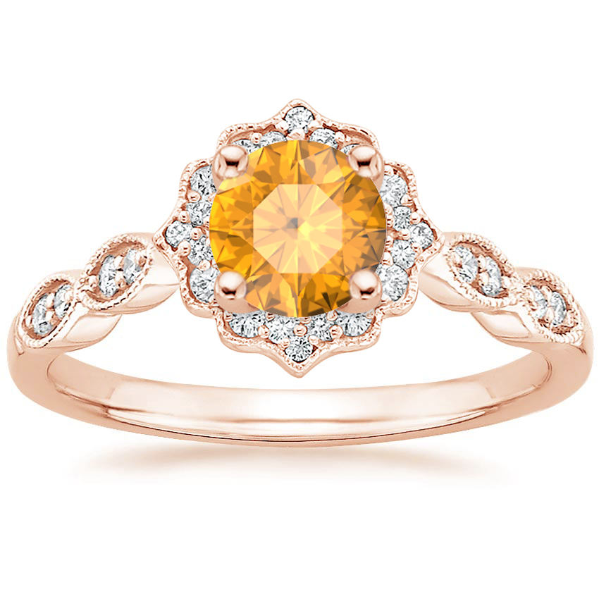 Citrine Swing Halo Diamond Engagement Ring in Rose Gold