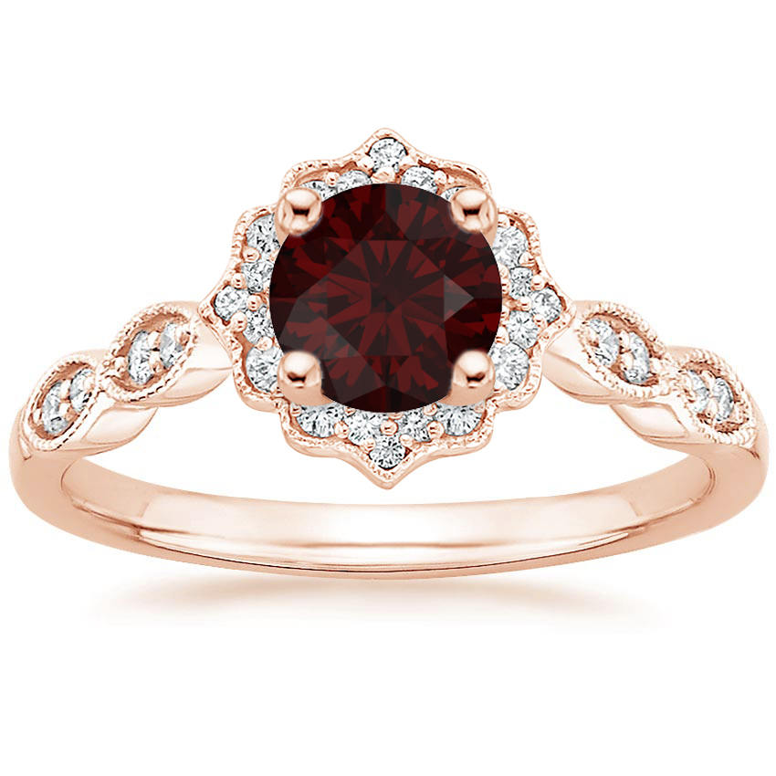 Garnet Swing Halo Diamond Engagement Ring in Rose Gold