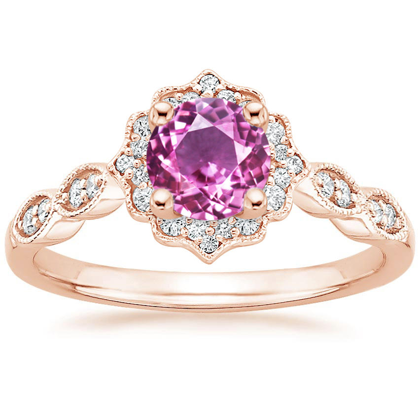 Round Cut Pink Sapphire Swing Halo Diamond Engagement Ring in Rose Gold
