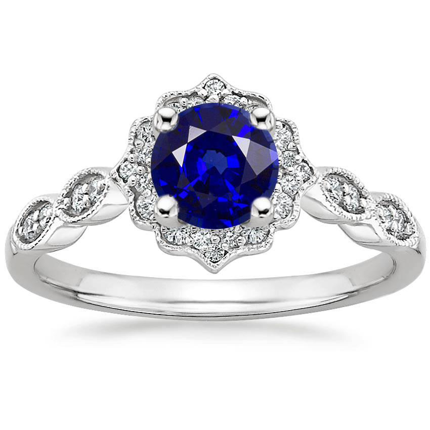 Blue Sapphire Swing Halo Diamond Engagement Ring