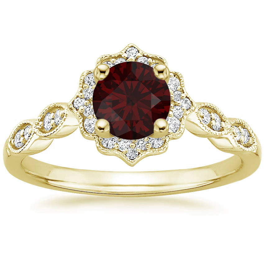 Round Cut Garnet Swing Halo Diamond Engagement Ring in Yellow Gold