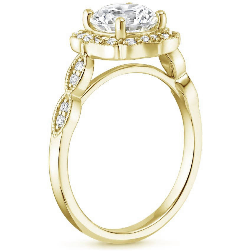 Blue Sapphire Swing Halo Diamond Engagement Ring in Yellow Gold