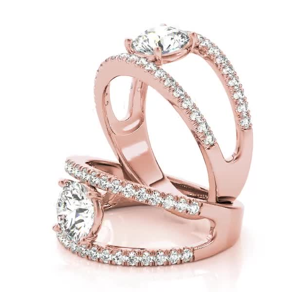 Wide Split Band Diamond Engagement Ring in Rose Gold