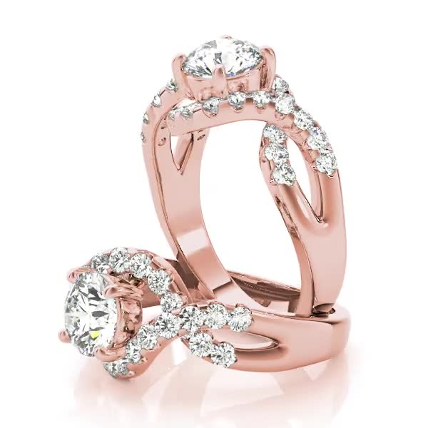 Intertwined Bridge Diamond Engagement Ring with Halo in Rose Gold