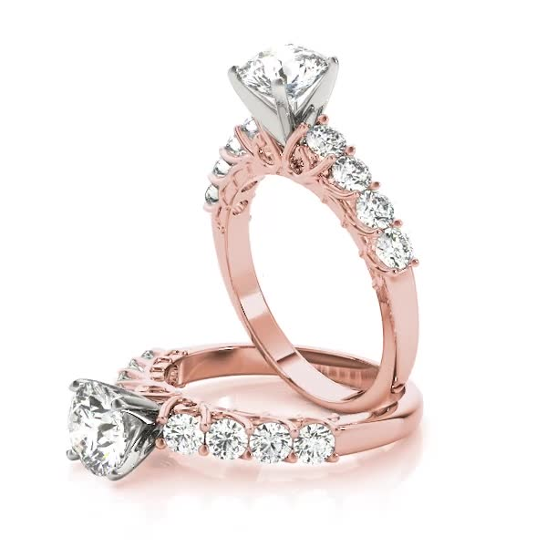 9 Diamond Ring Floral Prongs Rose Gold