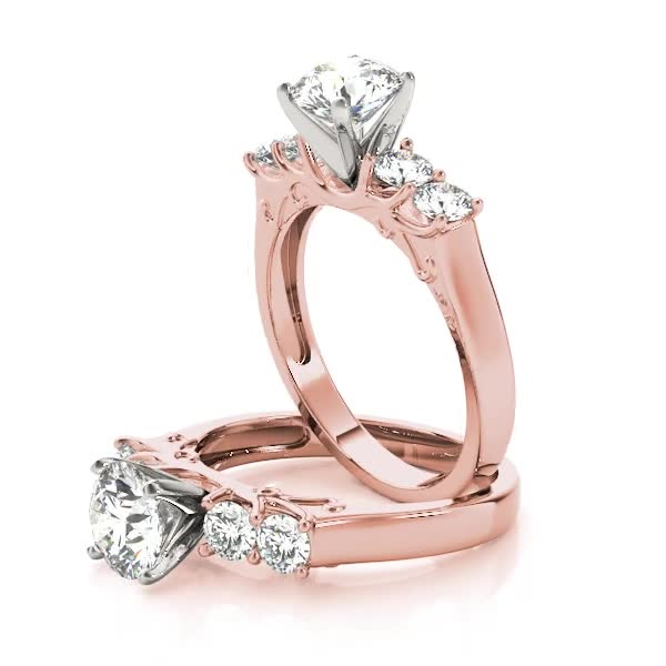 Four Stone Diamond Engagement Anniversary Ring, Engraving, in Rose Gold