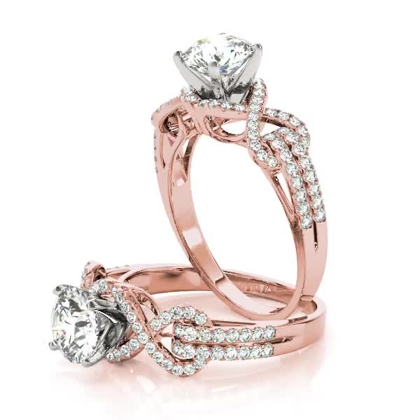 Infinity Love Knot Diamond Bridal Set