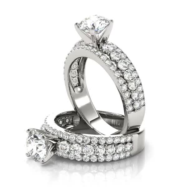 Triple Row Diamond Engagement Ring