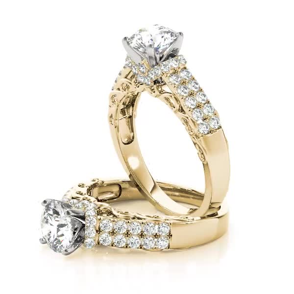 Filigree Double Row Diamond Engagement Ring Yellow Gold