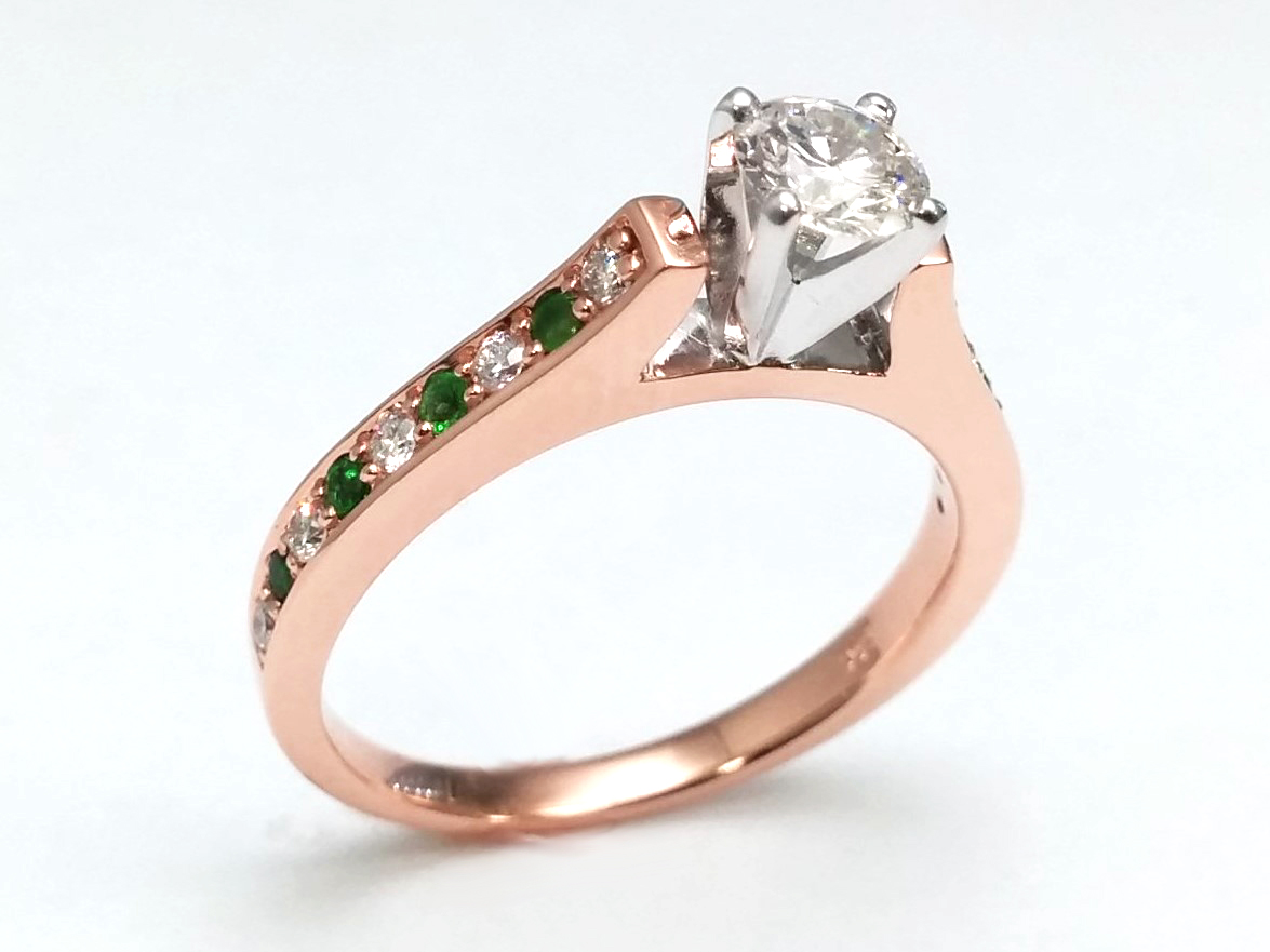 Round Diamond Engagement Ring Alternate Green Emerald's and Round Diamonds In Rose Gold