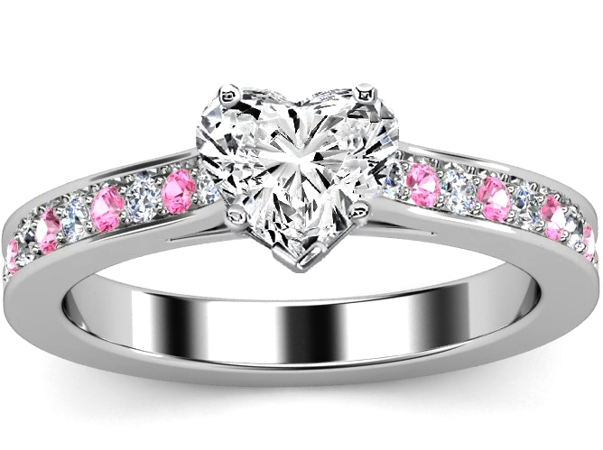 Heart Diamond Engagement Ring Pink Sapphires & Diamonds band in White Gold
