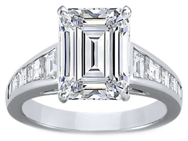 Large Emerald Cut Diamond Engagement Ring with Trapezoid Cut Diamonds