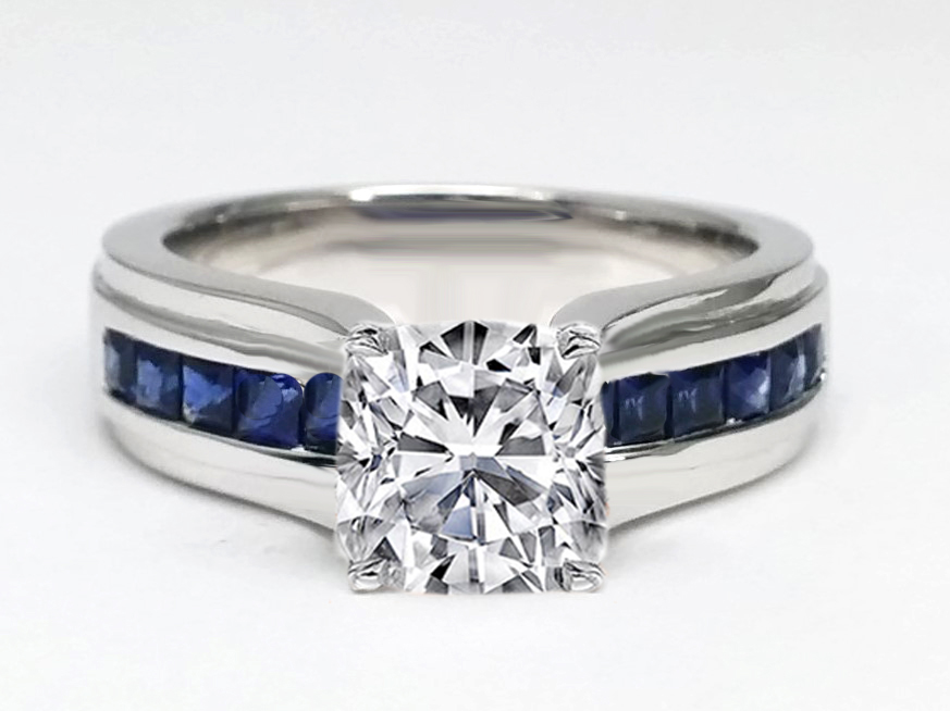 Cushion Diamond Bridge Engagement Ring with Blue Sapphire 0.90 tcw. In 14K White Gold
