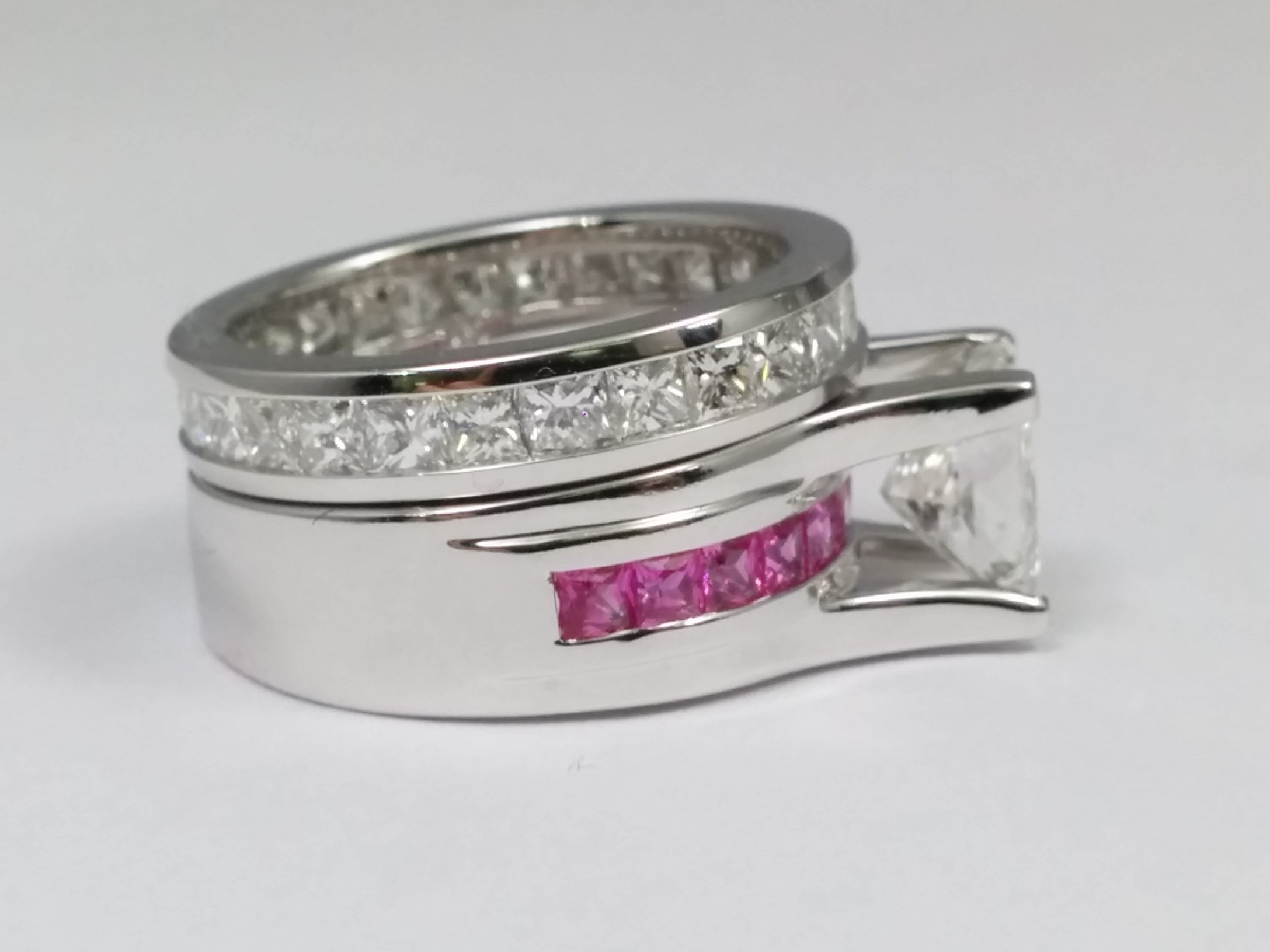 Princess Cut Diamond Bridge Engagement Ring Setting with Pink Sapphire and Diamond Eternity Band In 14K White Gold