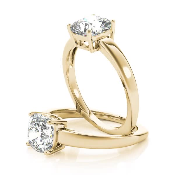 Cushion Solitaire Euro Shank Engagement Yellow Gold